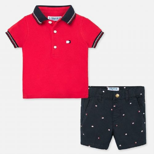 Red Polo Shirt and Shorts Set
